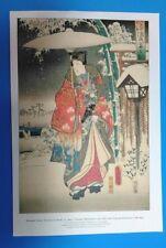 'Modern Genji Viewing in Snow' Print Utagawa Hiroshige Japanese Lithograph