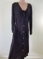 BNWT NEXT black geo spotty print tie detail long sleeve midi dress size 12 £34