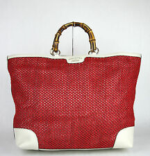 00888b0f3a4  1455 NEW Authentic GUCCI Top Handle Bamboo Shopper Straw Tote Red Large  338964