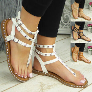 Gladiator Sandals Flats Toe Post Strappy Summer Comfy Shoes Womens Ladies Size