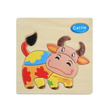 Wooden Cartoon Cattle Blocks Toddler Baby Kids Child Educational Toy Puzzle