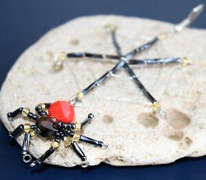 Swarovski Black & Red Beaded Spider & Net - Tree Decoration / Ornaments