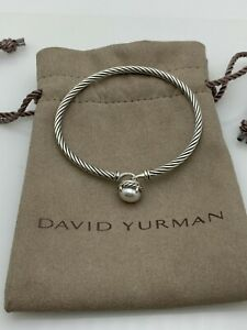 David Yurman Chatelaine Bracelet With Pearl 925 Sterling Silver 3mm Small