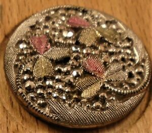 """7/8"""" Luster Tinted Silver GlassBlack Button 128:7"""