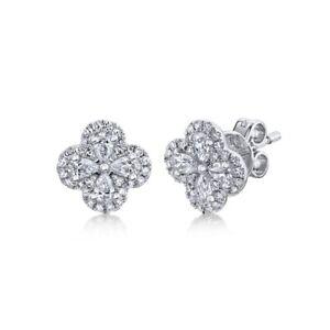Diamond Clover Stud Flower Earrings 14K White Gold Pear Cut Natural 0.60 TCW