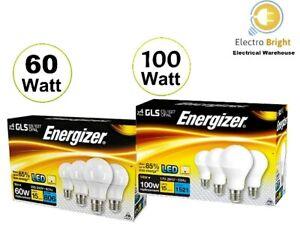 4 PACK ENERGIZER LED BULBS GLS GLOBE 60-100W ES EDISON SCREW WARM WHITE DAYLIGHT