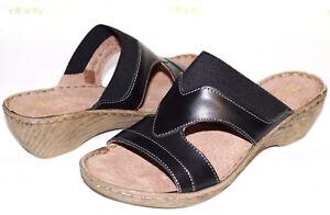 "❤️WHITE MOUNTAIN Verna Black Leather 1.5"" Cushioned-Wedge Sandal 7 M NEW L@@K!19"