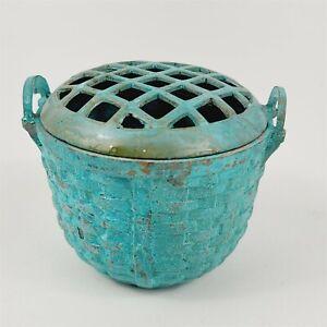 Vintage Dept 56 Cast Iron Flower Frog Basket Weave Two-Piece Blue Turquoise
