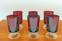 "SET OF 6 VINTAGE LUMINARC ARCOROC RUBY RED WINE GLASSES - 5 1/4"""