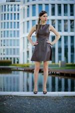ZARA BROWN A-LINE FAUX LEATHER DRESS SIZE MEDIUM (B15) REF: 2753 044