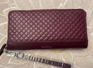 NWT Vera Bradley Carryall RFID Accordion Leather Wristlet/Wallet Mulled Wine