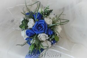 Lovely Bridesmaid Bouquet in Royal Blue and Ivory wedding flowers