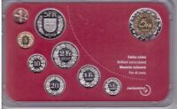 SWITZERLAN​D  9 DIF UNC COINS MINT SET: 0.01 - 5 FRANCS 2000 YEAR BASLER BIMETAL