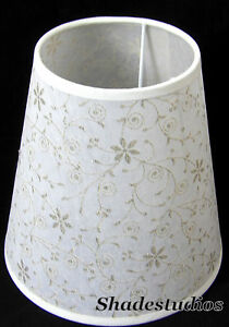 Hand Made Ivory Parchment Paper Lampshade With Silver Glitter Detail