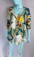 DIANE VON FURSTENBERG SIZE 10 UK 6 US SILK POCKETED BLOUSE TOP