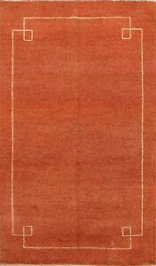 Contemporary ORANGE Gabbeh Bordered Oriental Area Rug Handmade Wool Carpet 6x8