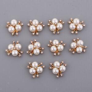 10 Pearl Rhinestone FlatBack Flower Button Wedding Scrapbook Embellishment Craft