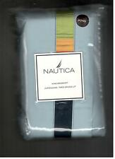 Nautica Ocean Beach Light Blue Navy Orange Trim King Bed Skirt Nautical New