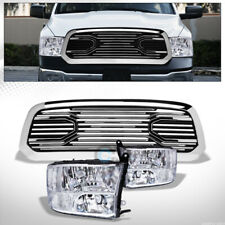Fits 13-18 Dodge Ram 1500 Chrome Quad Lamps Headlights nb+Big Horn Style Grille