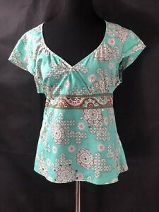 New York And Company XL Blouse , Cotton Faux Wrap Green Multicolor Floral