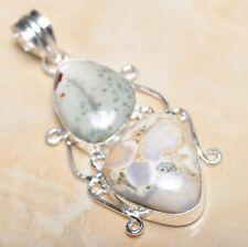 "Handmade Natural Ocean Jasper Gemstone 925 Sterling Silver Pendant 2.5"" #P11489"