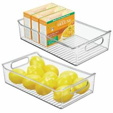 mDesign Wide Plastic Kitchen Pantry Cabinet Food Storage Bin, 2 Pack - Clear