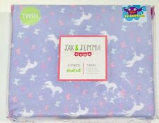 Jak & Jemma Kids Unicorn Sheet Set Twin Bed Purple 3 piece sheet