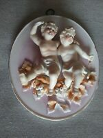 ORIGINAL ARNART CREATION JAPAN CHERUBS PORCELAIN WALL PLAQUE