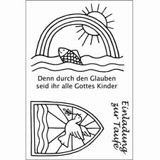 Efco TAUFE Stempel SET, clear stamp, A7, 3- teilig,4511284,christliche Symbole