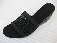 Vivanz Womens Shoes $95 NEW Callista Black Stretch Fabric Suede Slide Wedge 6 M