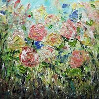 Square Floral Painting GARDEN ROSES Abstract Flowers Oil Impasto on Canvas