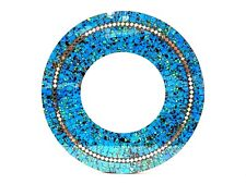 "Mosaic Mirror Garden Hanging Blue Glass Inlay Round 24"" Bali Zenda Imports"