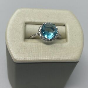 Sterling Silver Blue Topaz and White Sapphire Ladies Halo Ring sz 7 Kay Jewelers