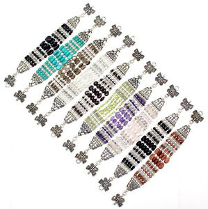 Bracelet natural amethyst moonstone smoky onyx gemstone beaded handmade jewelry