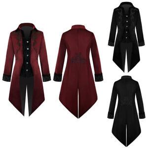 Mens Victorian Tailcoat Gothic Steampunk Jacket Coat Halloween Fancy Costume