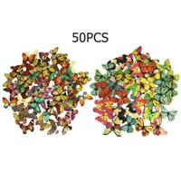 50pcs Wooden Butterfly Sewing Button DIY Knitting Garment Clothes Colorful Decor