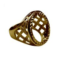 Half Sovereign Ring Mount 9ct Solid Yellow Gold Lattice With Bezel UK Hallmarked