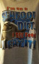 Disney Finding Nemo Shark I'm On A Seafood Diet  I See Food I Eat It Shirt Sz L