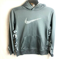 Nike Therma Fit Swoosh Logo Hoodie Youth Large Boys Girls Gray Sweatshirt