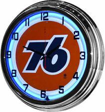 "17"" Retro Union 76 Sign Blue Neon Wall Clock Gas Station Garage Man Cave"
