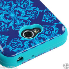 LG Optimus L70 Exceed 2 Realm Hybrid T Armor Case Skin Cover Blue Damasks