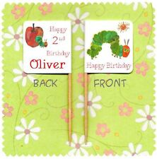 20 PERSONALISED THE HUNGRY CATERPILLAR CUP CAKE FLAG Party Pick Topper Birthday