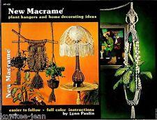 New Macrame patterns: OWL, plant hangers, home decor, lamp shades. Vintage. 1976
