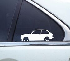 2x Lowered car outline stickers - for classic Ford Fiesta (Mk1,1975-1983) retro
