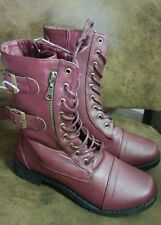 womens ankle boots size 6  7 ect Rue 21 new burgandy combat style lace zip up