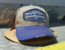 New Holland farm blue & Khaki mesh twill distressed hat cap licensed w/ tags