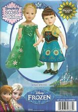 "18"" Doll Clothes PATTERN~S0365~Disney Frozen Fever Elsa & Anna Costumes"
