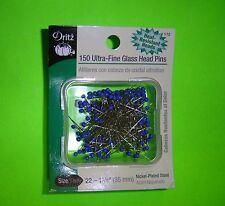 """Dritz 150 Ultra Fine Glass Blue Head Pins - Size 22 - 1 3/8"""" Long"""