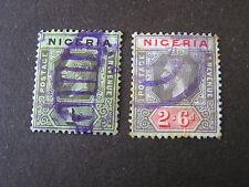 NIGERIA, SCOTT # 29/30(2), 1/- + 2sh.6p. VALUES KGV 1921-33 DIE II ISSUE USED