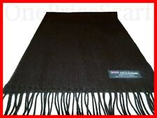 2 PLY 100% Cashmere Scarf Solid Black Made in SCOTLAND Men Women Wrap Warm Wool